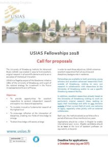 Call for proposals ´University of Strasbourg Insitute of Advanced Science (USIAS)´ Fellowships 2018